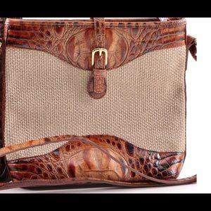 Brahmin cross body tan canvas /brown leather